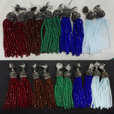 original handmade bohemia wire red green blue brown beads long tassel drop dangle black rhinestone connector earrings for women - onlinejewelleryshopaus