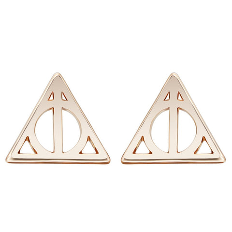 10pairs Gold Silver Plated Simple Deathly Hallows Luna Triangle Stud Earrings for Women Girl Gift Fashion Punk Jewelry Wholesale - onlinejewelleryshopaus