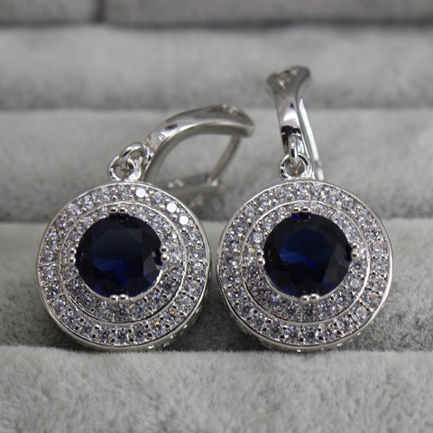 Bohemian Vintage Drop Earrings Cz Diamond Jewelry Hanging Wedding Earrings With Blue Topaz Silver Brinco Para Noivas Ye002-9 - onlinejewelleryshopaus