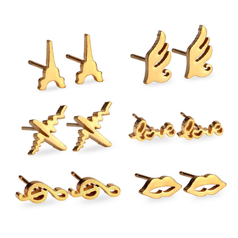 2016 Brand New 6 Pairs Different Shape Earrings Stainless Steel Earrings Set,Stud Earrings For Women,Gold/ Silver - onlinejewelleryshopaus
