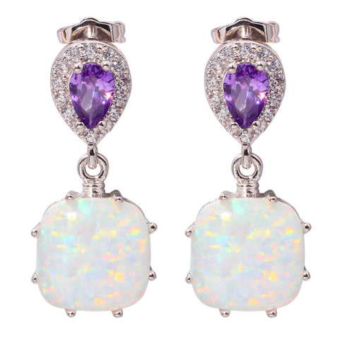 "Silver White Fire Opal Amethyst Wholesale Retail For Women Jewelry Cubic Zirconia Wedding Stud Earrings 1"" OH3499 - onlinejewelleryshopaus"