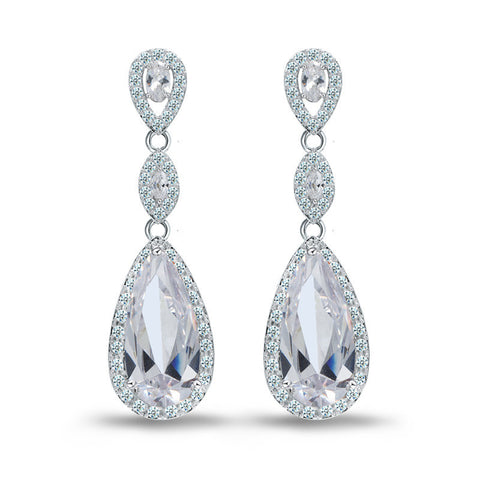 Luxury Dangles Long Earrings for Women Wedding Earrings Water Drop Zircon Party Gift Rhodium Plated Wholesale - onlinejewelleryshopaus