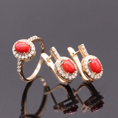 Romantic Style Red Coral Rock AAA Cubic Zircon Champagne Gold Plated Earrings Ring Jewelry For Women - onlinejewelleryshopaus