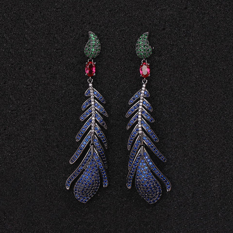 New Brand Designer High Quality Luxury Pave Multicolor Blue Zircon Long Feather Shape Earrings for Women - onlinejewelleryshopaus