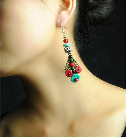 2016 New women earring high quality eardrop multicolor turquoise ethnic jewelry special design drop dangle earrings D080 - onlinejewelleryshopaus