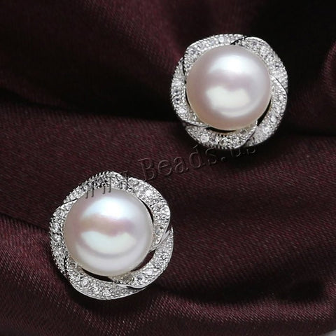 Free Shipping Natural Freshewater Pearl Stud Earrings Jewelry Gift natural Pearl Earrings womens Freshwater Pearl stud earring - onlinejewelleryshopaus