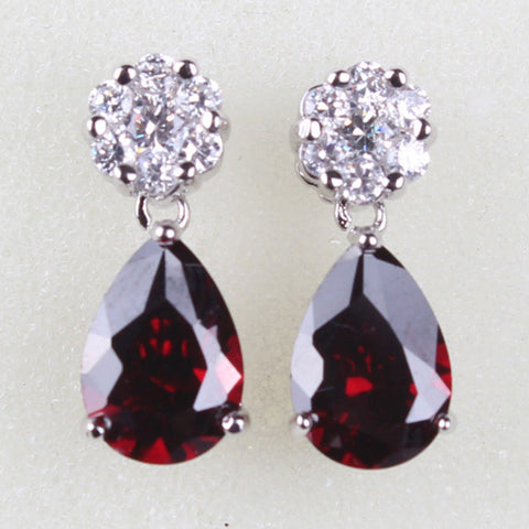 Ladies Dangling Earings Fashion  White Gold Plated Garnet Red Water Drop Zirconia Crystal Dangle Earrings for Women E007f - onlinejewelleryshopaus