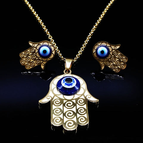 Stainless Steel Jewelry Sets Crystal Lucky Blue Evil Eyes Pendant Necklace Earrings Dubai Gold Jewelry Jewellery Sets Women S132 - onlinejewelleryshopaus