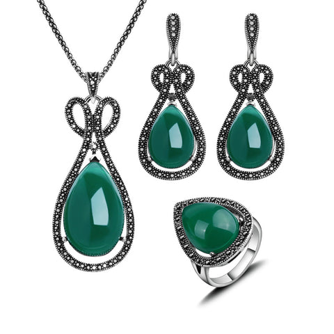 Vintage Jewelry Black Crystal And Green Water Drop Necklace Earrings Ring Set Antique Silver Plated Jewellery Sets For Women - onlinejewelleryshopaus