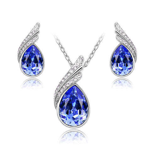 crystal wedding jewellery sets statement necklace and earring set collier mariage earrings for women turkish jewelry - onlinejewelleryshopaus