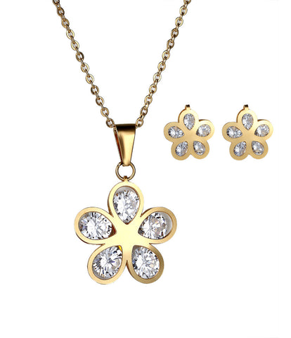 New Gold Plated Jewelry Sets For Women Stainless Steel Shell Flower Pendant Necklace Crystal Earrings Wholesale Women Jewellery - onlinejewelleryshopaus