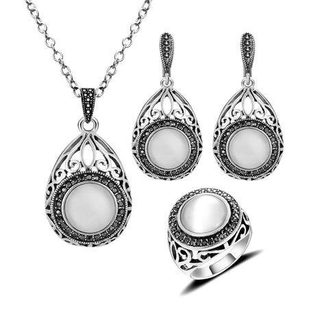 Hight Quality New Fashion Antique Jewellery Set Hollow Out Water Drop And Round White Opal Natural Stone Jewelry Sets For Women - onlinejewelleryshopaus