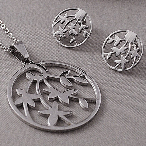 Wholesale Jewellery sets womens round pendant necklace+stud earrings hollowing bamboo stainless steel WTS348 - onlinejewelleryshopaus