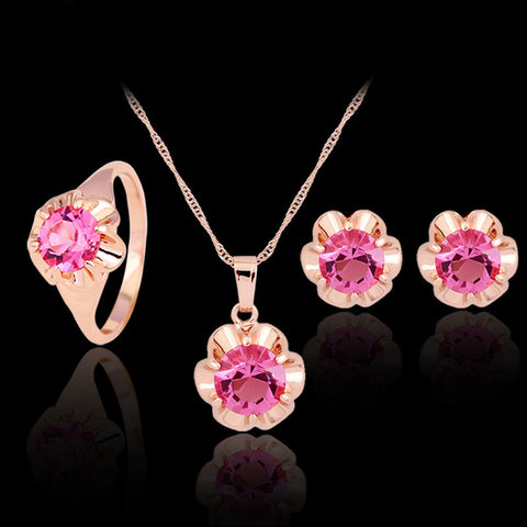 Fashion Jewelry sets african gold earing and necklace women top flower crystal beads bridal Fashion wedding pink jewellery set - onlinejewelleryshopaus