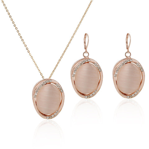 Gold Plated Pink Opal Jewelry Set Austria Semi-precious Stone Hollow Pendant Necklace Earrings Jewellery Sets For Women FS61293 - onlinejewelleryshopaus
