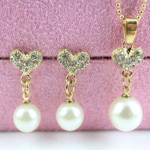 Fashion Women Necklace Earrings Jewelry Sets Crystal Gold Big Simulated Pearl Wedding Heart  Party Jewelry Sets For Women - onlinejewelleryshopaus