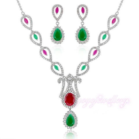 Red and Green High Quality Crystal Pendant Drop Necklace and Earrings Sets Jewelry for Women New Arrival Jewellery sets CN155 - onlinejewelleryshopaus