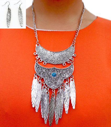 Bohemian Bead Crescent Carved Flower Metal  Feather Tassel Bib Necklace Earrings Set  Retro Silver Ethnic Tribal Jewelry Set - onlinejewelleryshopaus