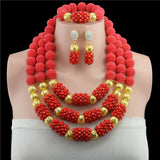 Fashionable Real Red Crystal African Beads Jewelry Sets Brides Red Costume Jewellery Set For Women Hot Sale - onlinejewelleryshopaus