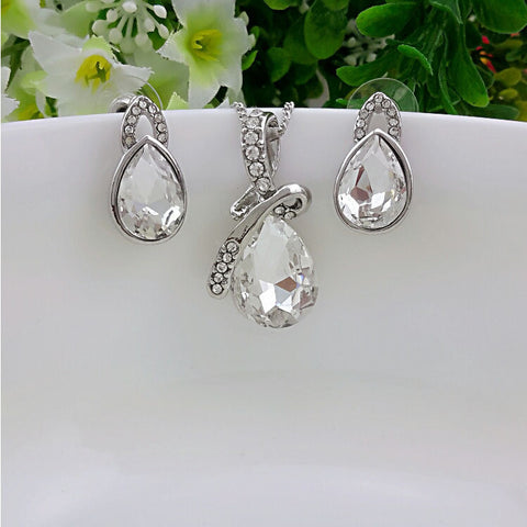 2014 new fashion silver plated crystal jewellery set water drop wedding earring Pendants Necklaces Jewelry Sets for women - onlinejewelleryshopaus