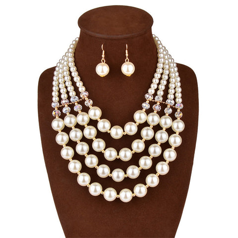 Simulated pearl earrings and necklace jewellery set for women bridesmaid wedding necklace and earring jewelry sets for brides - onlinejewelleryshopaus