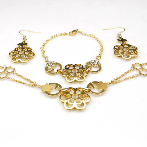 jewelry set for women lovely flowers earrings necklaces bracelets 3pcs set stainless steel gold plated lady's jewellery WTS552 - onlinejewelleryshopaus
