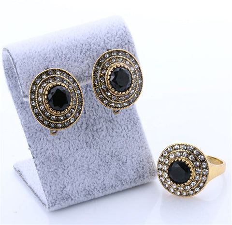 Fashion Luxury Black Stone Earrings And Ring For Women 2016 old Jewellery Sets Wedding Accessories Bridesmaid ifts - onlinejewelleryshopaus