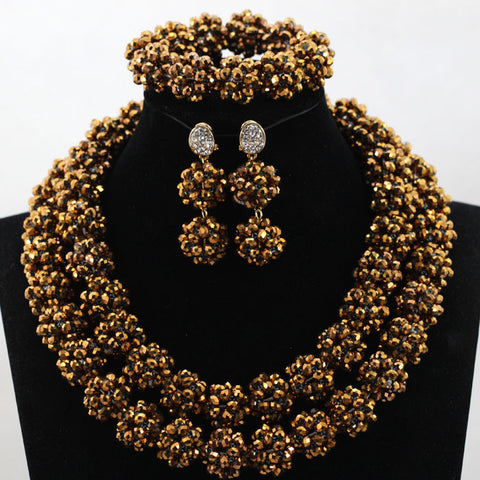 Charms Coffee Crystal Balls Beaded Indian Jewelry Set for Women African Party Engagement Jewellery Set Free Shipping WD108 - onlinejewelleryshopaus