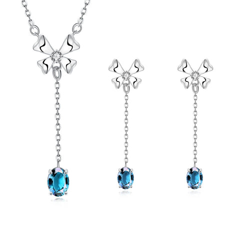 White Gold Plated Jewellery Set Joya Rubi Blue Stone Earrings Necklaces For Women Cz Diamond Wedding Ruby Jewelry Sets CS097-5 - onlinejewelleryshopaus