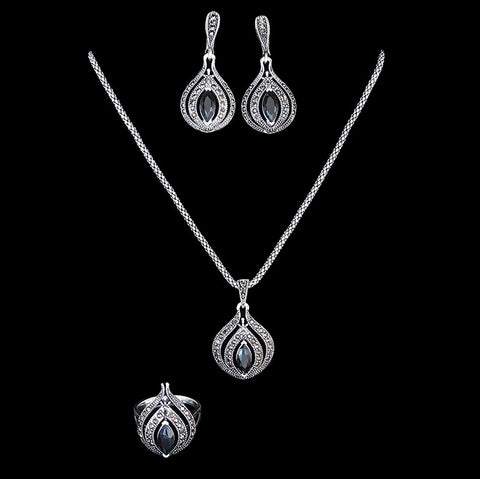New Design Hight Qualtiy Antique Jewellery Set Silver Plated Fashion Vintage Black Rhinestone Jewelry Sets Women Gift - onlinejewelleryshopaus