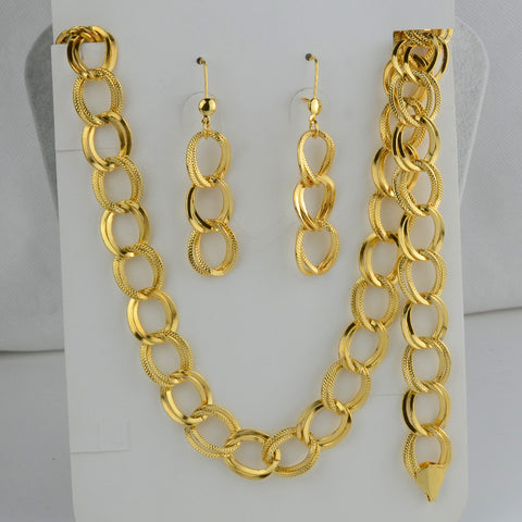 Party gold set jewelry for women Chain necklace earrings bracelet , gold plated with 50cm chain thick sets trendy - onlinejewelleryshopaus
