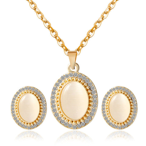 Gold plated opal jewelry sets for women girls fashion African wedding bridal crystal necklace earrings jewellery set gifts - onlinejewelleryshopaus