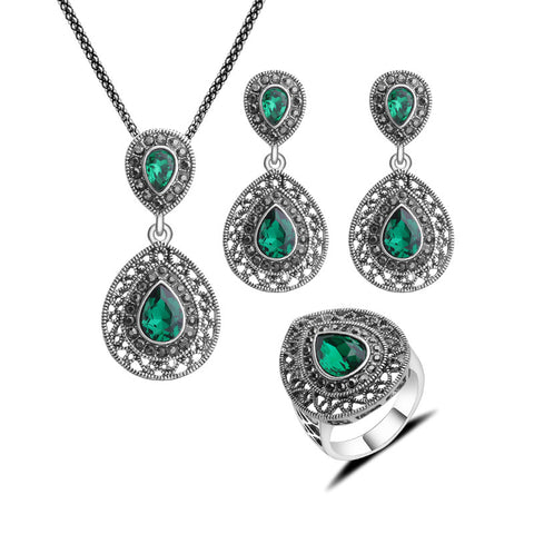 Women Gift Fashion Jewellery Set Vintage Silver Plated Classic Water Drop Design Green Crystal Jewelry Sets For Wedding Party - onlinejewelleryshopaus