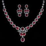 Luxurious Women Jewellery Sets Oval Shape Micro Red Jewelry Set Bridal Accessories - onlinejewelleryshopaus