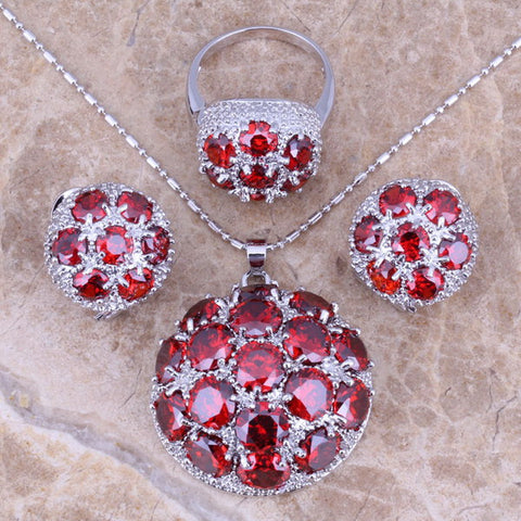 Gracious Red Created Garnet Silver Jewelry Sets Earrings Pendant Ring For Women Size 6 / 7 / 8 / 9 / 10 / 11 / 12  S0023 - onlinejewelleryshopaus