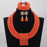 Luxury Pink Coral Beads Full Beads Bridal Jewelry Sets African Nigerian Women Pink Jewellery Set Gift Free Shipping CNR760 - onlinejewelleryshopaus