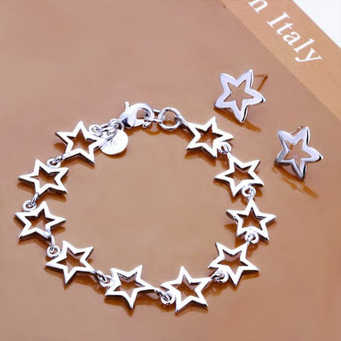 SS035 Silver Plated Star Chain Bracelet Stud Beads Earrings Fashion Jewelry Sets Jewellery Set - onlinejewelleryshopaus