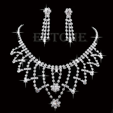 Wedding Bride Bridesmaid Crystal Rhinestone Necklace Earring Prom Jewellery Sets - onlinejewelleryshopaus