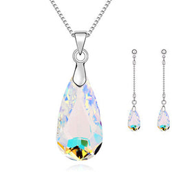 Fashion Jewellery Set New Silver/Gold Plated Color Drop Crystal Necklace Earring Fine Jewelry Sets For Woman wholesale&retail - onlinejewelleryshopaus