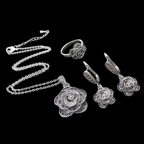 HENSEN Fashion Antique Jewellery Set Vintage Silver Plated Retro Black Crystal Flower Jewelry Sets For Women - onlinejewelleryshopaus