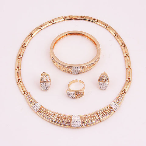 2017 Women Wedding Bridal Gold Plated Crystal African Beads Jewelry Sets Elegant Wedding Jewellery Sets Costume Accessories - onlinejewelleryshopaus