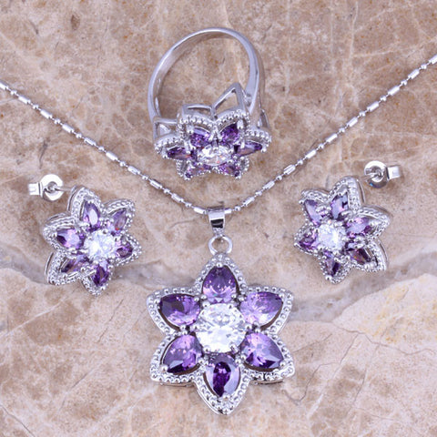 Incredible Purple Amethyst White CZ Silver Jewelry Sets Earrings Pendant Ring Size 6 / 7 / 8 / 9 / 10  S0435 - onlinejewelleryshopaus