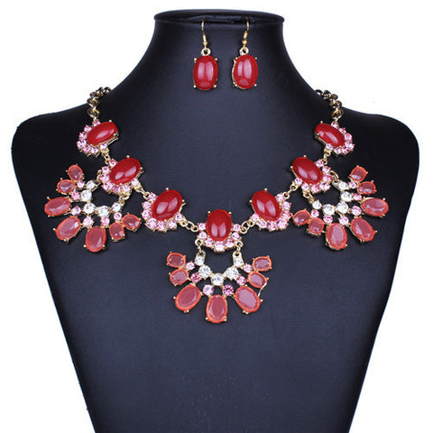 Fashion Red coral beads wedding jewelry set gold filled Rehinestone bead jewellery sets flower girl jewelry sets - onlinejewelleryshopaus