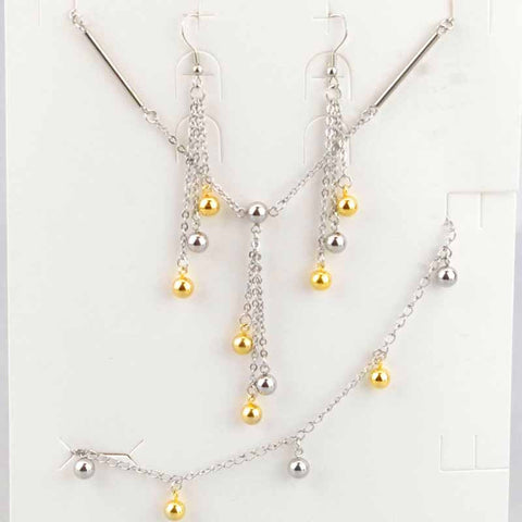 New Wedding Jewellery Sets Vintage Balls High Quality For Women Girl Necklace Pendant Drop Earrings Charms Braclelet HZG044 - onlinejewelleryshopaus