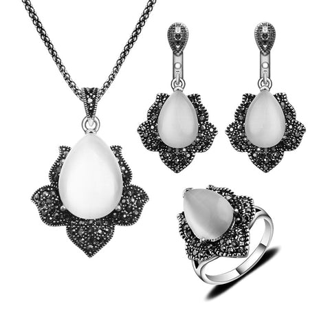 Silver Plated Antique Jewellery Vintage Black Rhinestone And Water Drop Shape Natural Stone White Opal Jewelry Sets For Women - onlinejewelleryshopaus