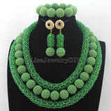 2016 Latest Green Crystal Beads African Jewellery Set Women Chritmas Gift Nigerian Party Beads Necklace Sets Free ShippingHD7716 - onlinejewelleryshopaus