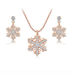 Austrian Crystal jewelry sets for women rose gold platinum plated fashion snowflake girls pendant necklace earring jewellery set - onlinejewelleryshopaus