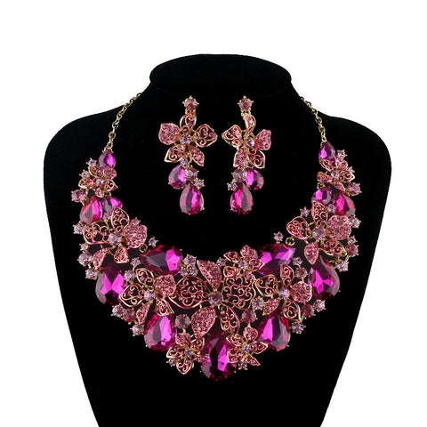 New Bridal Wedding jewellery set necklace earring Fuchsia Pink Rhinestone Crystal Jewelry Women Party Accessories - onlinejewelleryshopaus