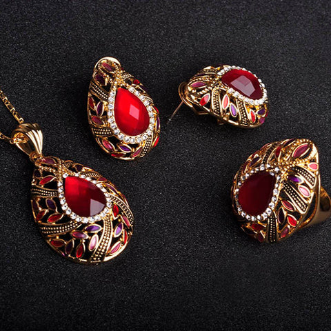 Women Vintage Jewelry Sets Brand Enamel Pendant & Necklace Earring Ring Jewellery Set Masculino Fashion Flower Necklace sets UK - onlinejewelleryshopaus