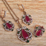 Fashion New Turkish Jewelry Sets Turkish Flower Necklace Earring Ring Jewellery Sets Women Bridal Accessories Sets Anel Aneis - onlinejewelleryshopaus